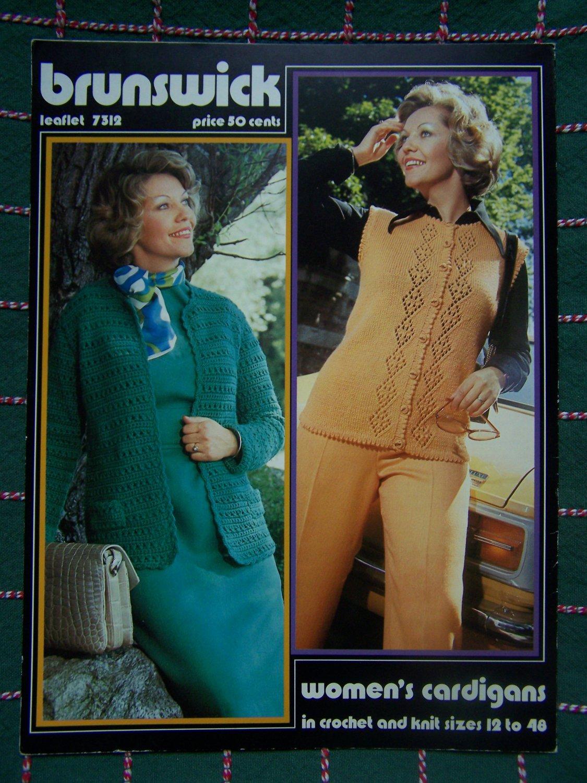 Womens Vintage Knitting & Crochet Patterns Cardigan Sweaters Brunswick 7312 Sizes 12 Plus to 48