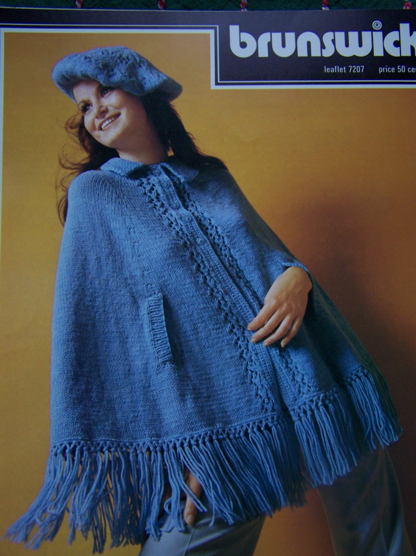 Vintage Ladies Brunswick Knitting & Crochet Capes & Beret Hats Patterns 7207 Maxi Instructions