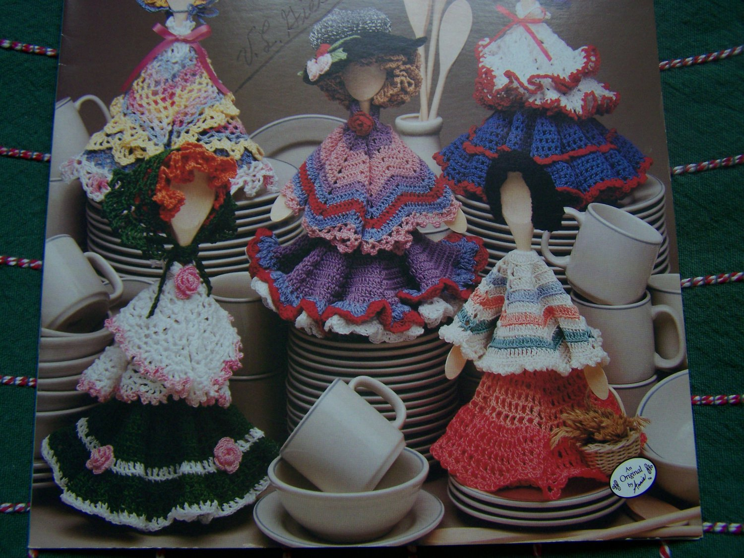 5 Annie's Attic Crochet Patterns Dish Rag Darlings Wood Spoon Dolls 601A