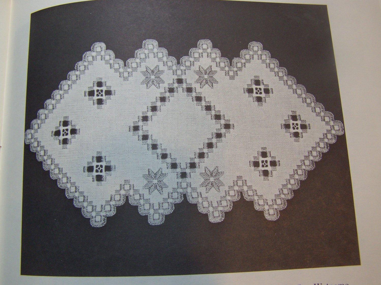 15 Vintage Hardanger Embroidery Patterns Doilies Table Runner Bun Warmer Framed