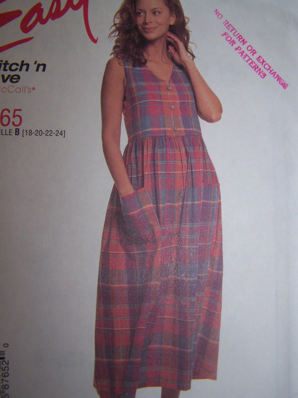 Uncut Womens Plus Size 18 20 22 24 Jumper Dress Sewing Pattern 8765
