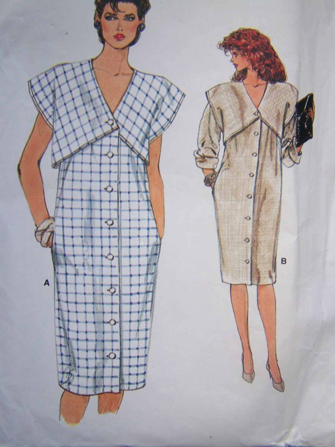 Vintage Uncut Vogue Sewing Pattern 9004 Straight Dress Attached Over Bodice Bust 40