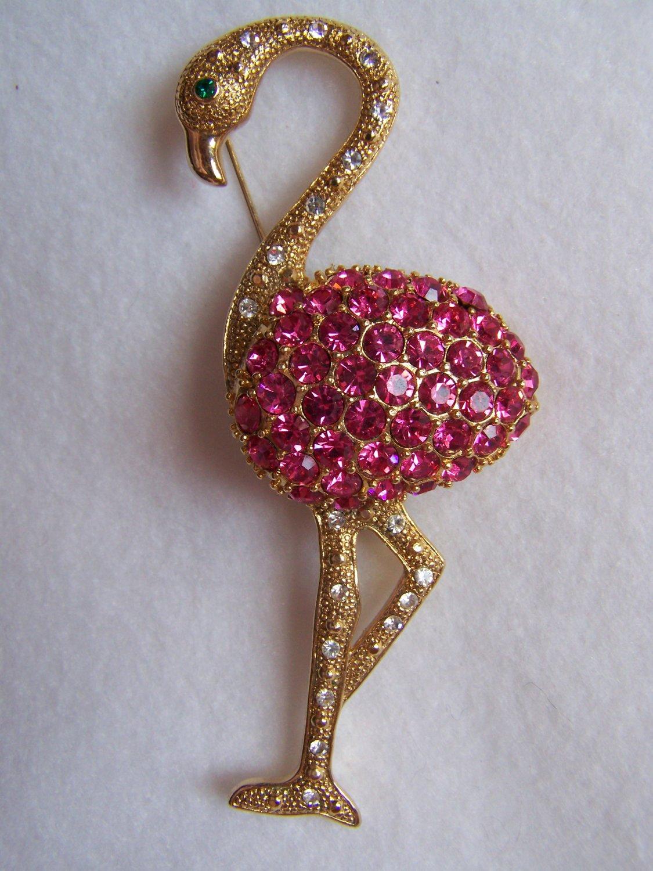 Vintage Pink Rhinestone Flamingo Pin Brooch Gold Tone Metal