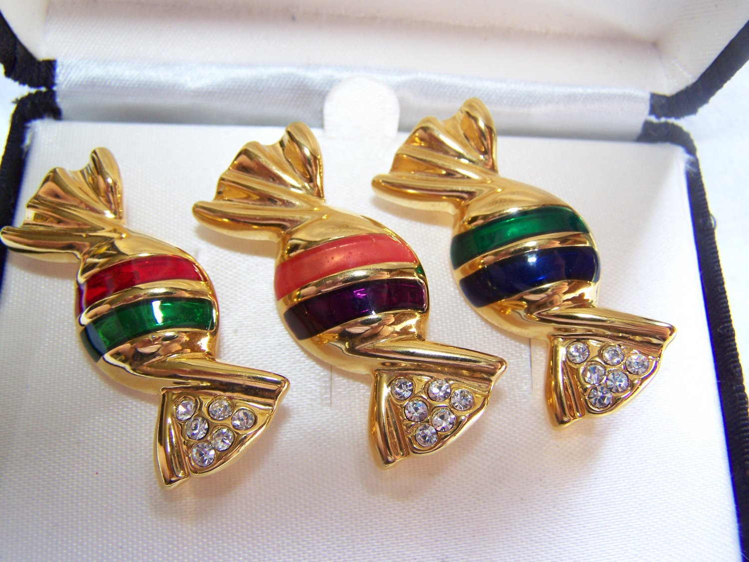 3 Christmas Pin Set Wrapped Hard Candy Gold Tone Metal Clear Rhinestones