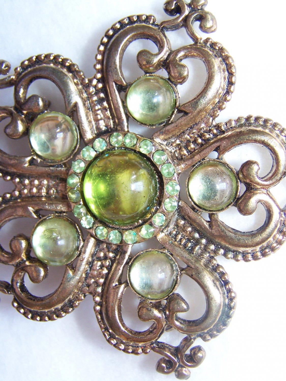 Vintage Antique Gold Tone Brooch Green Stones