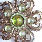 Vintage Antique Gold Tone Brooch Green Stones
