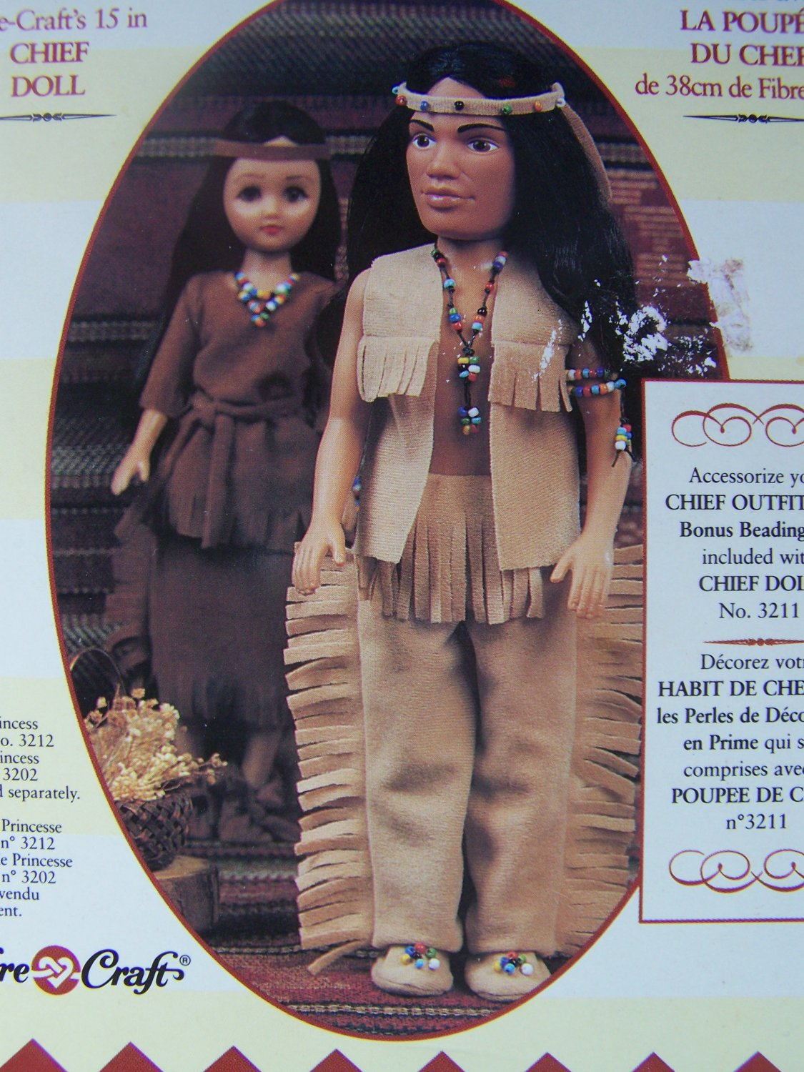 """New Fibre Craft Indian Chief Outfit Fits 15"""" Doll Pow Wow Costume"""