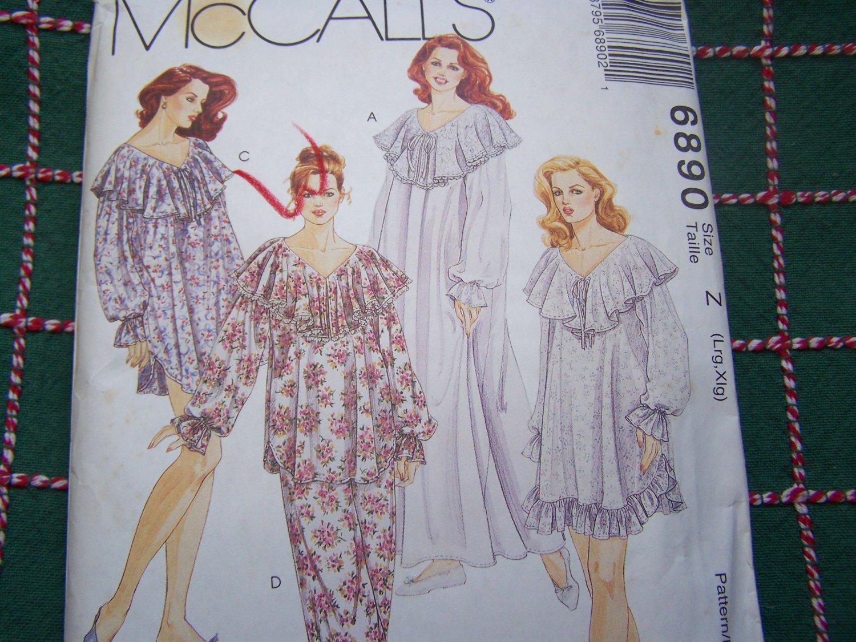 Uncut Womens L XL Sewing Pattern  6890 Frilly Nightgown Ruffle Pajamas 16 18 20 22