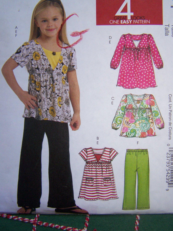 Uncut Girls 3 4 5 6 Sewing Pattern 5794 Empire Waist Peasant Tops & Pants