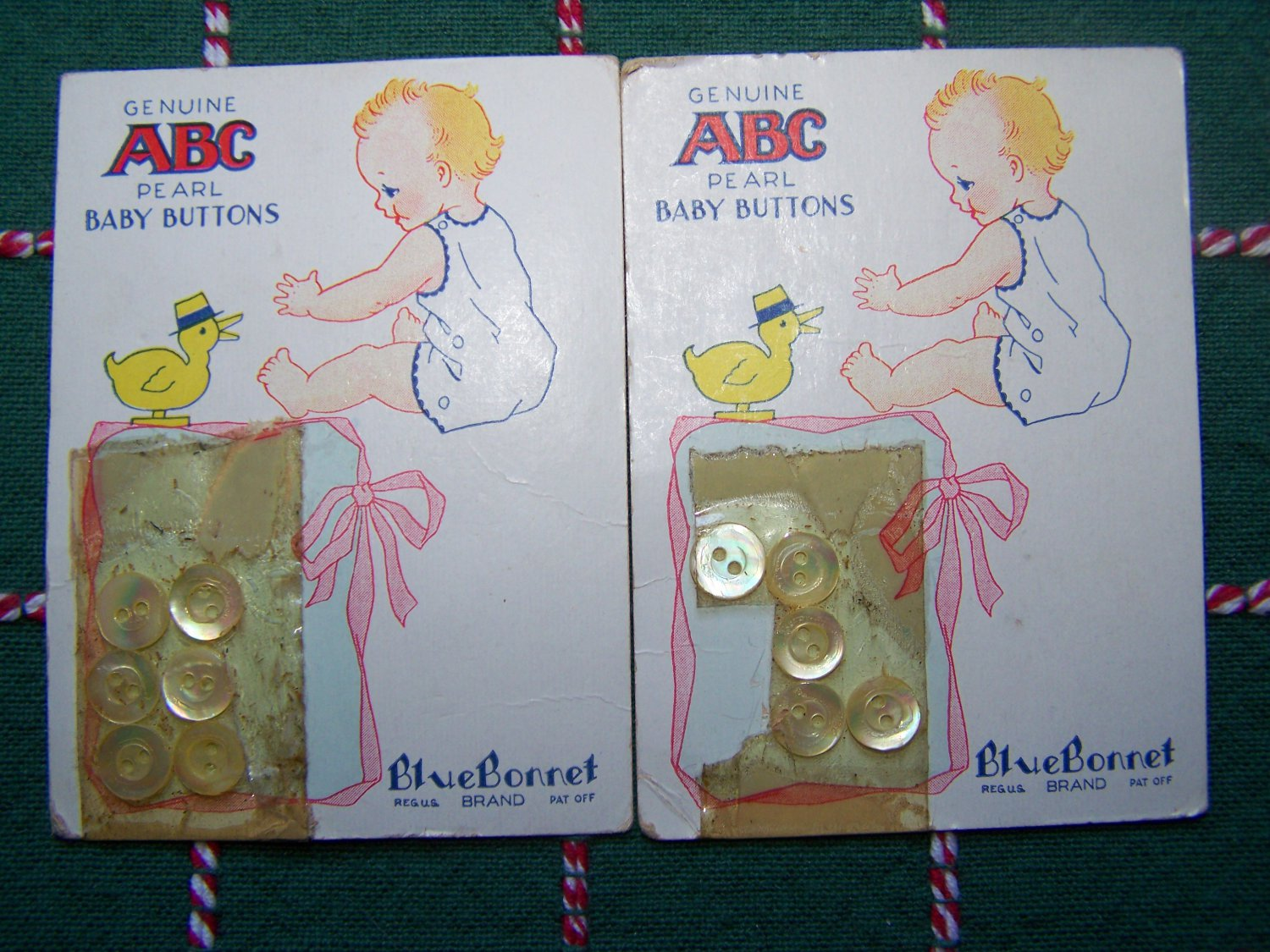 "11 Vintage ABC Genuine Pearl Baby Buttons White Clear 3/8"" Bluebonnet Brand"