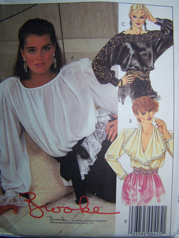 Uncut Vintage Sewing Pattern 9368 Misses Pullover Peasant Tops Blouses Bust 38