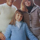 Vintage Brunswick Crochet Patterns 7734 Ladies Hoodie Cardigan Men Pullover Girls Drawstring Sweater