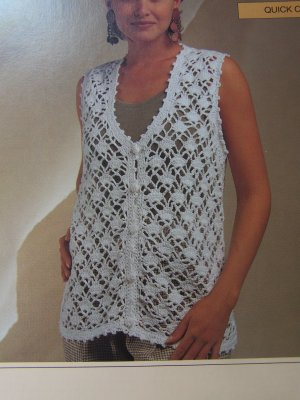 New Bernat Ladies Clothing Crochet Patterns Diamond Lace Vest Lacy Shell Top 1291