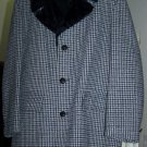 Vintage Men's Sears Coat Houndstooth Black Blue Tweed Black Plush Collar Warm Furry Lining