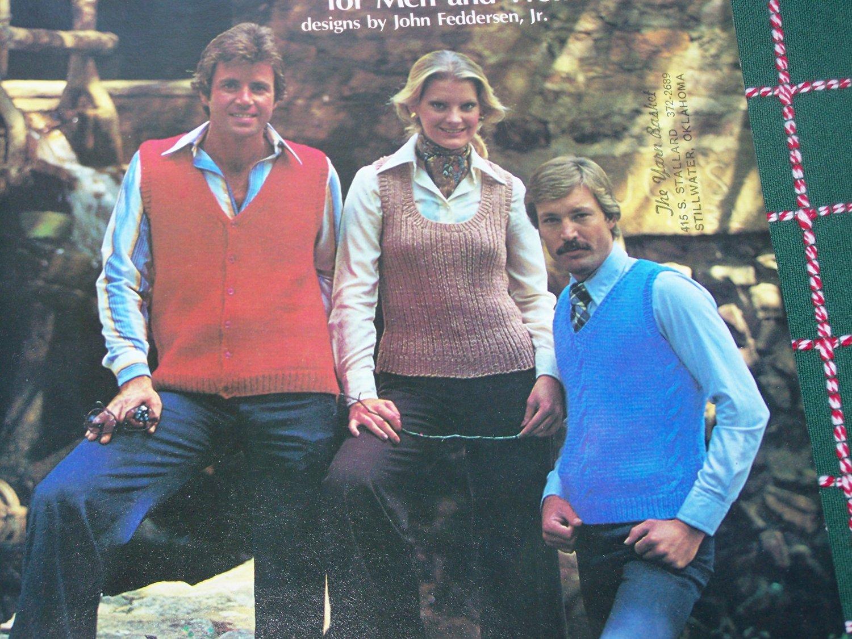 Vintage 70's Knitted Vest Patterns for Men Women Cardigan & Pullovers 111