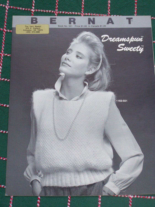 2 Vintage Bernat Knitting Patterns 551 Misses Pullover Sleeveless Tops Vests S M L XL
