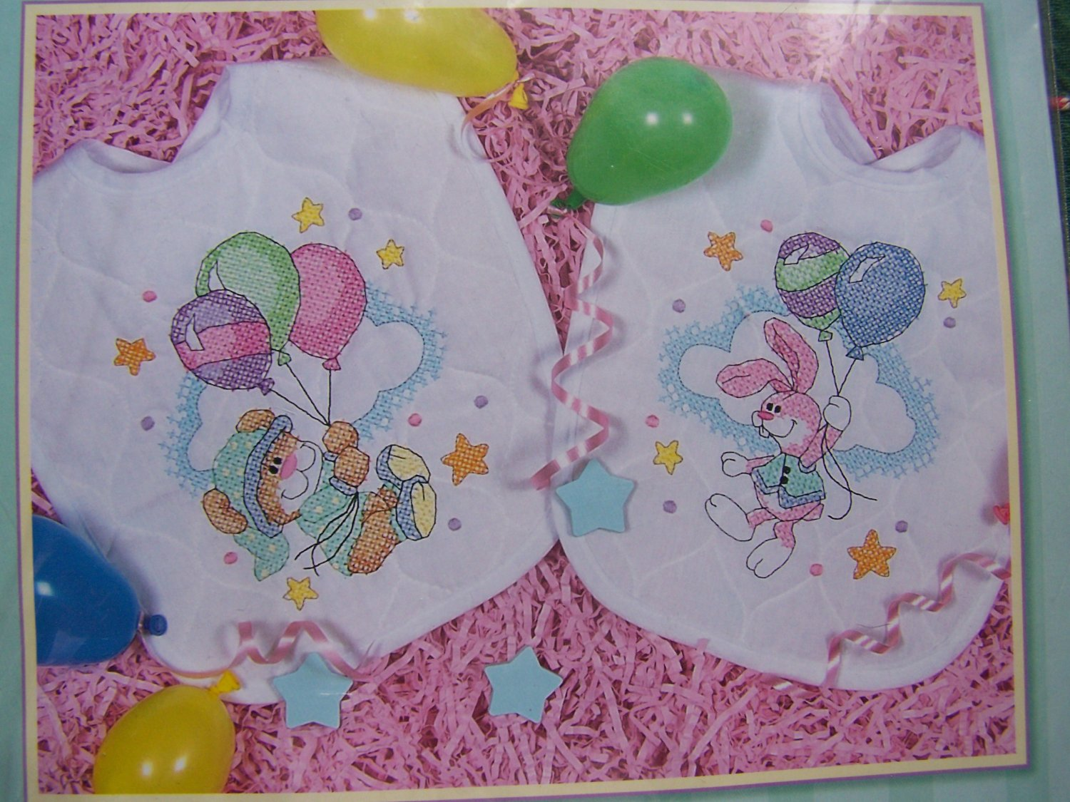New Dimensions Baby Hugs Quilted Bib Stamped Cross Stitch Craft Kit 72993