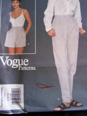 Uncut Vogue Sewing Pattern 1379 Misses High Waist Pants &amp; Shorts 8 10 12 Calvin Klein