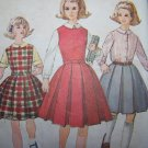 Vintage Girls Sewing Pattern 4643 Blouse Box Pleat Dress Jumper Skirt Belt
