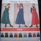 Uncut Misses Design Your Jumper Dress Sewing Pattern 7316 Empire Waist Full Skirt 12 14 16
