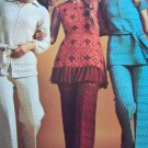 3 Vintage Crochet Patterns Womens Pantsuits Tunic Top & Pants Sets 2531