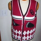 Womens OU Oklahoma Sooners Sports Medium Knitted Sweater Vest Birch Bros Football Basketball