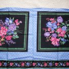 New Joan Messmore Cotton Floral Fabric Pillow Panel on Black