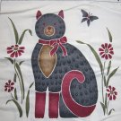 Free USA S&H New Country Cat Cotton Fabric Pillow Panel Flowers Butterfly