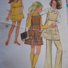 Vintage Girls Sewing Pattern 5440 Jumper Dress Tunic Top Flared Pants Breast 27