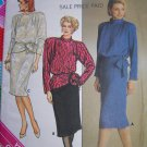 Uncut Vintage Sewing pattern 3413 Misses 2 Piece Dress Blouson Top Straight Skirt Bust 38