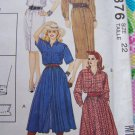 Uncut Vintage Womens Shirtdress Sewing Pattern 6376 Size 22