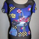 Misses CLIO Racing Motorcycles Sheer Black Shirt Checkered Flag 106 Octane GP
