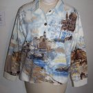 Womens Bestow Shirt Jacket Venice Italy Painting Scene Gondolas Medium Bust 42