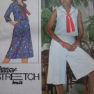 70s Vintage Misses 10 12 14 Sailor Top Skirt Culottes Uncut Sewing Pattern 8410