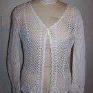 Womens BFA Classics Crochet Doily Filigree Jacket Cover Up Off White Beige Medium