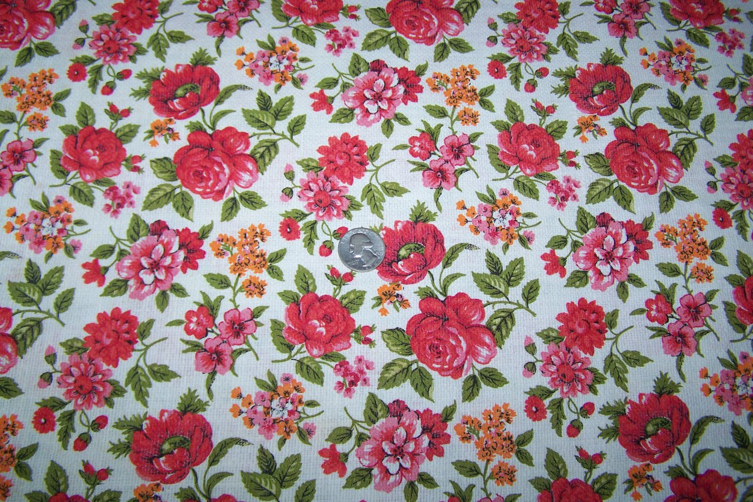 Vintage Barkcloth Cotton Fabric Floral Roses Flowers By