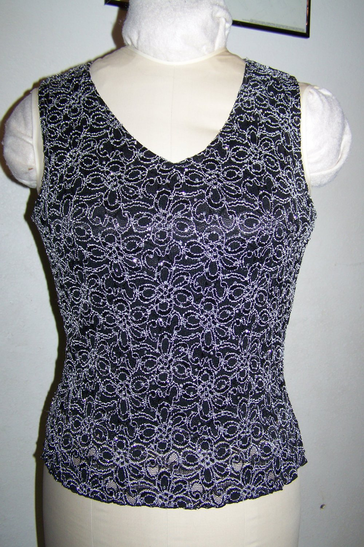 Womens M Brittany Black Sparkle Dressy V Neck Tank Top Floral Embroidered Shirt Medium