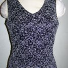 Womens M Brittany Black Sparkle Dressy V Neck Tank Top Floral Embroidered Shirt Medium