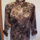Womens Metallic Brown Gold Black Animal Print Blouse Leopard Zebra Open or Stand Up Collar