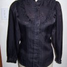 Vintage Womens Western Panhandle Slim Black Sheen Pearl Snap Ruffled Yoke & Cuffs