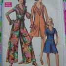 Uncut Vintage Womens Pantdress Sewing Pattern 7956 Shorts Romper Ruffled V Collar Wide Legs