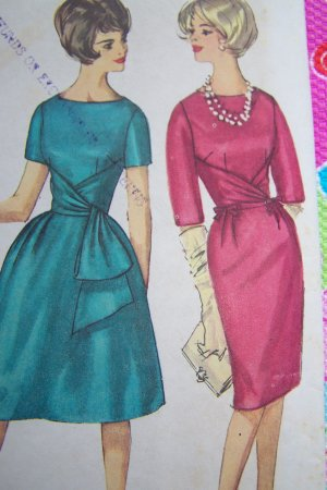 Uncut 1960s Vintage Sewing Pattern 4230 Junior 9 Dress Slim Full Skirt Waist Drape Tie
