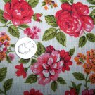 2 Yards Vintage Barkcloth Cotton Fabric Floral Pink Red Roses Flowers Thurston Lowenstein New