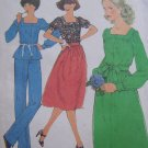 70s Uncut Vintage Sewing Pattern 8356 Square Neck Tunic Top Shirt Skirt Pants