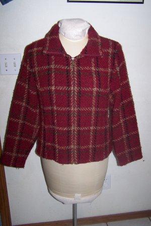 Womens Zip Front Jacket Weave of The Irish Burnt Red Long Sleeves Handcraft In Ireland