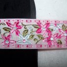 Vintage 1 3/8 Wide Over 5 Yds Flat Lace Embroidered Flowers Pink Green White