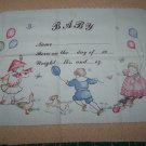 Vintage Baby Boy Girl Birth Announcement Fabric Panel Pillow Wall Hanging Heirloom Keepsake