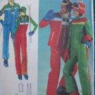 1970s Mens Uncut Vintage Ski Bibs Coat Vest Jumpsuit Outfit Butterick Sewing Pattern 5111