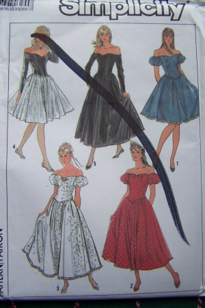 Vintage 6 8 10  Misses Off Shoulder Evening Gown Cocktail Dress Uncut Sewing Pattern 8383
