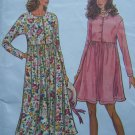 Misses PT S M L XL Dress Raised Waist Shirtwaist Loose Fit 2 Length Sewing Pattern 8555